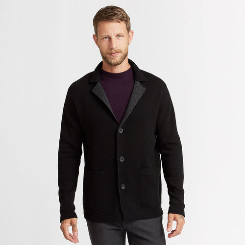 Double Knit Blazer in Grey Black | Men's Coats & Jackets | Autumn Cashmere