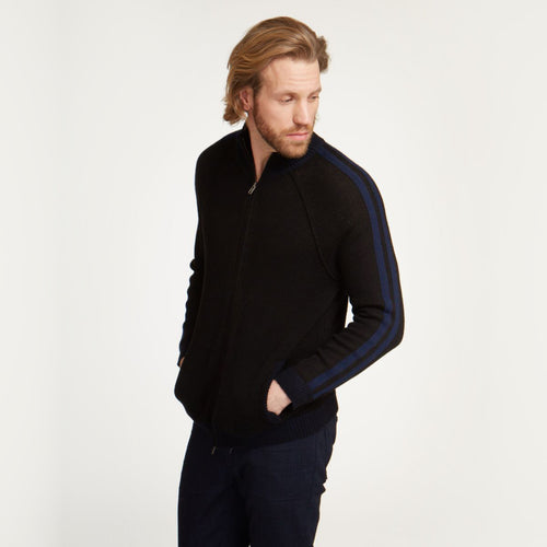 Full Sleeve Mock with Stripe Sleeve | Men's Pullovers & Sweaters | 1/2 Zip | Autumn Cashmere