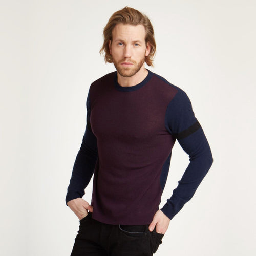 Colorblock Crew with Stripe Sleeve | Men's Apparel & Shirt | Autumn Cashmere