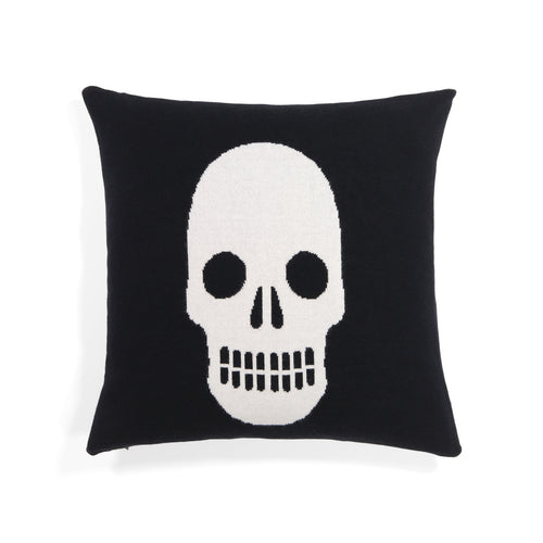 Skull Intarsia Cashmere Pillow | Black White Skull Pillow | 18 x 18 Pillow Insert and Pillow