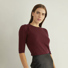 Load image into Gallery viewer, Ribbed Elbow Puff Sleeve Crew in Wine