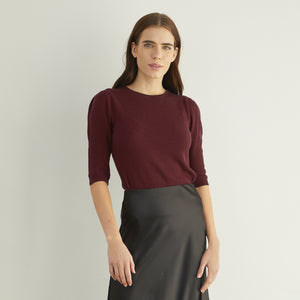 Ribbed Elbow Puff Sleeve Crew in Wine