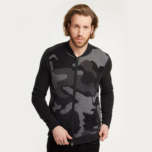 Camo Inked Bomber in Grey Combo | Men's Army Jackets Lightweight | Autumn Cashmere