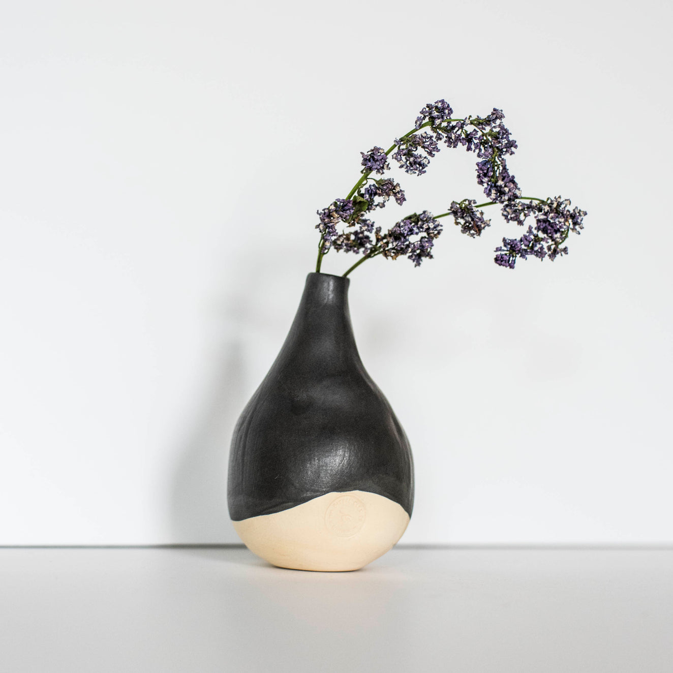 Ritual Clay Water Droplet Bud Vase - Soot Color
