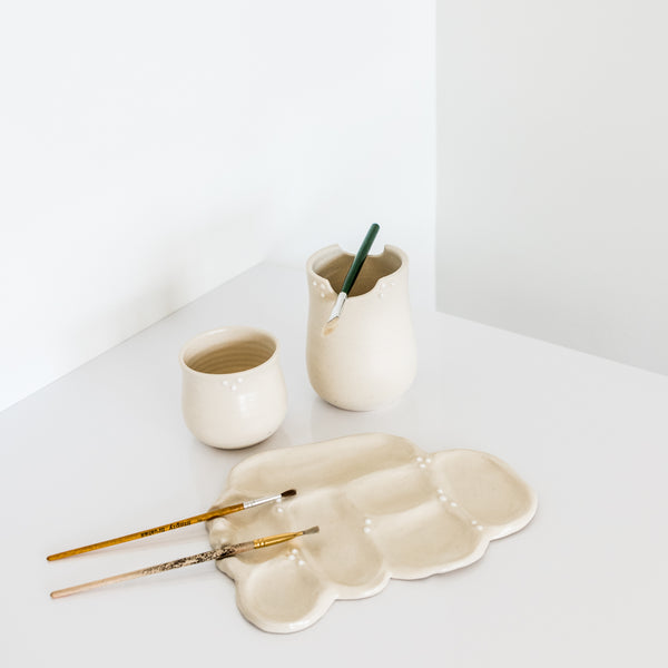 Cream Painters Palette Set By Rebecca Wind Pottery