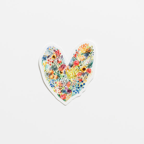 Little Bee Designed Heart of Flowers Sticker