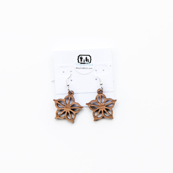 Rochester, NY Wooden Dangle Earrings By May and Birch In Walnut