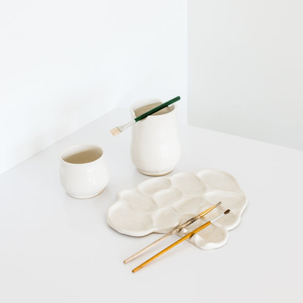 White Painters Palette Set By Rebecca Wind Pottery