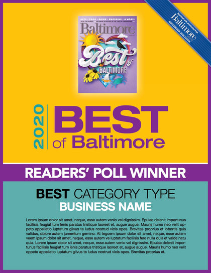 Best of Baltimore Reader's Poll 2020 Plaque