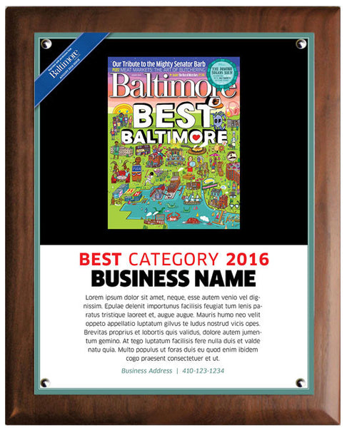 Best of Baltimore 2016 Plaque