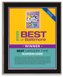 Best of Baltimore 2020 Plaque