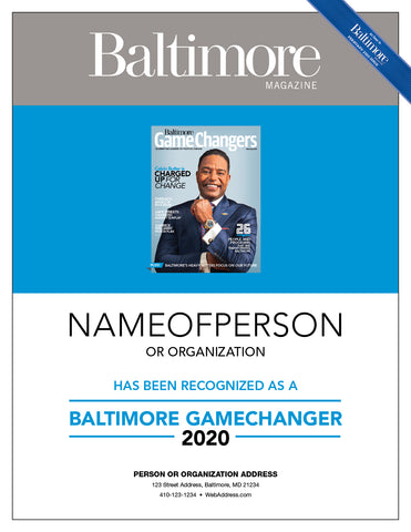 Baltimore GameChangers Plaque