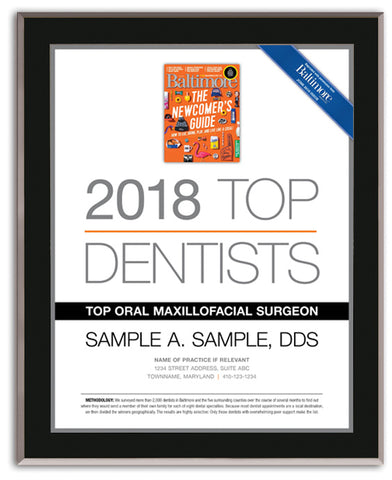Top Dentists 2018 Plaque