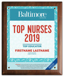 Top Nurses 2019 Plaque
