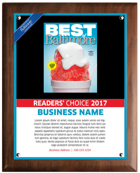 Best of Baltimore 2017 Readers' Choice Plaque