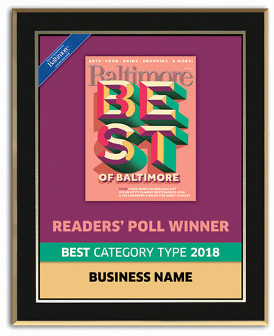 Best of Baltimore 2018 Readers' Choice Plaque