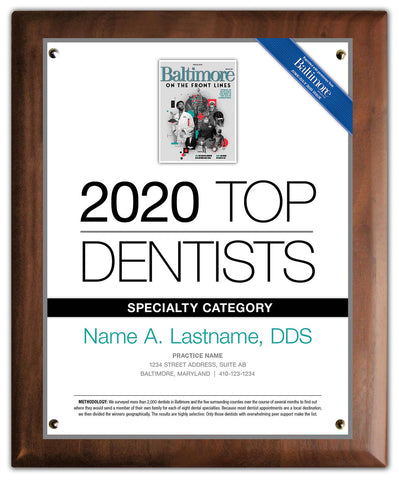 Top Dentist 2020 Plaque