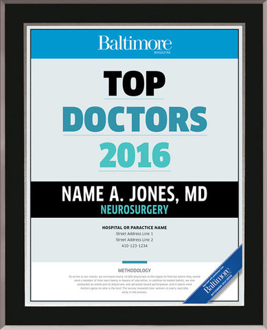 Top Doctors 2016 Plaque