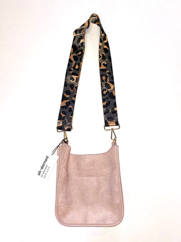 Vegan Mini Messenger with Camo Strap in blush by Ah-Dorned