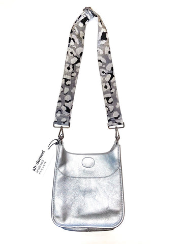Vegan Mini Messenger with Leopard Strap in silver by Ah-Dorned