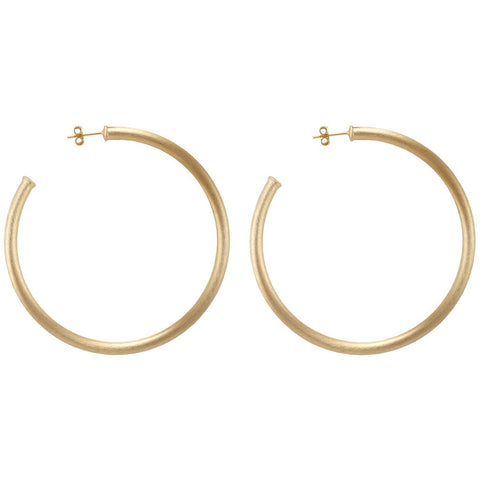 Med Thick hoops with post in gold by Sheila Fajl
