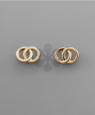 Double Circle Stud Earring in gold