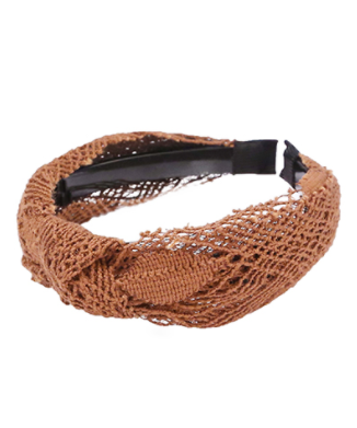 Crochet Knotted Headband in brown