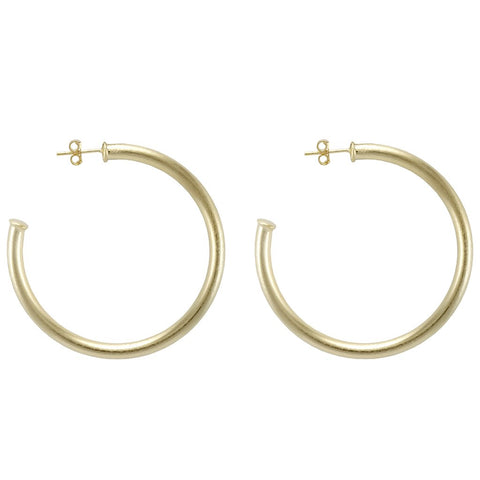 Smaller Thick Hoops with Post in gold by Sheila Fajl