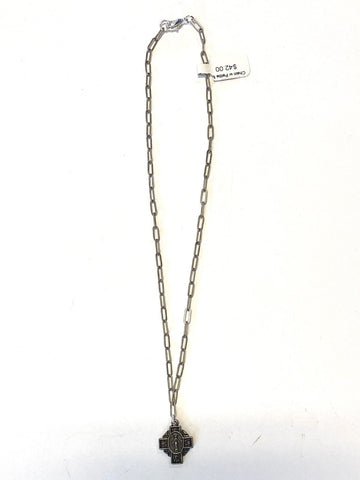Chain with Petite Mary Cross in gunmetal by Virtue