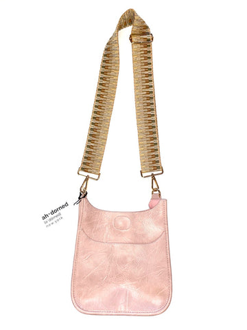 Vegan Mini Messenger with Embroidered Strap in blush by Ah-Dorned
