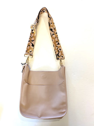 Faux Leather Messenger with Leopard Strap in blush by Ah-Dorned