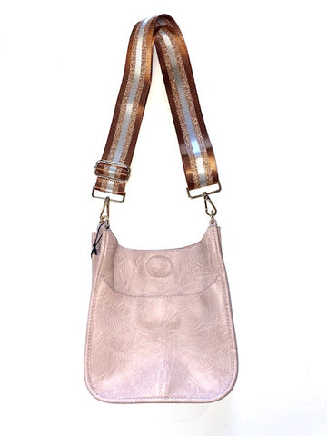 Mini Faux Leather Messenger with Stripe Strap in blush by Ah-Dorned