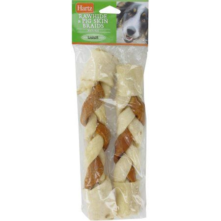 Hartz 2 in 1 rawhide and pig skin braided bone