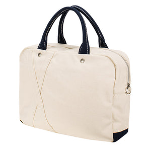 BRIEF TOTE - Natural × Navy
