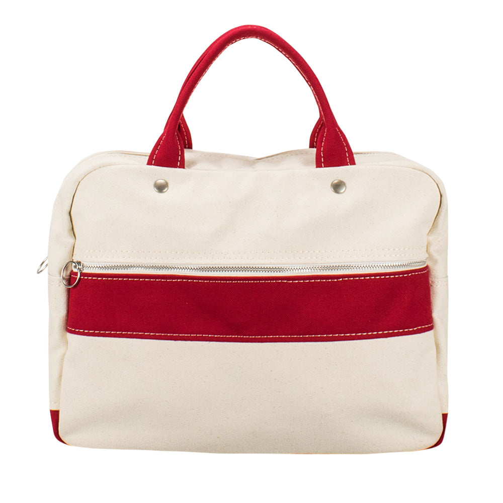 BRIEF TOTE - Natural × Red