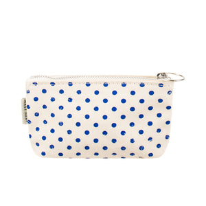 COIN CASE - Blue Polka Dots
