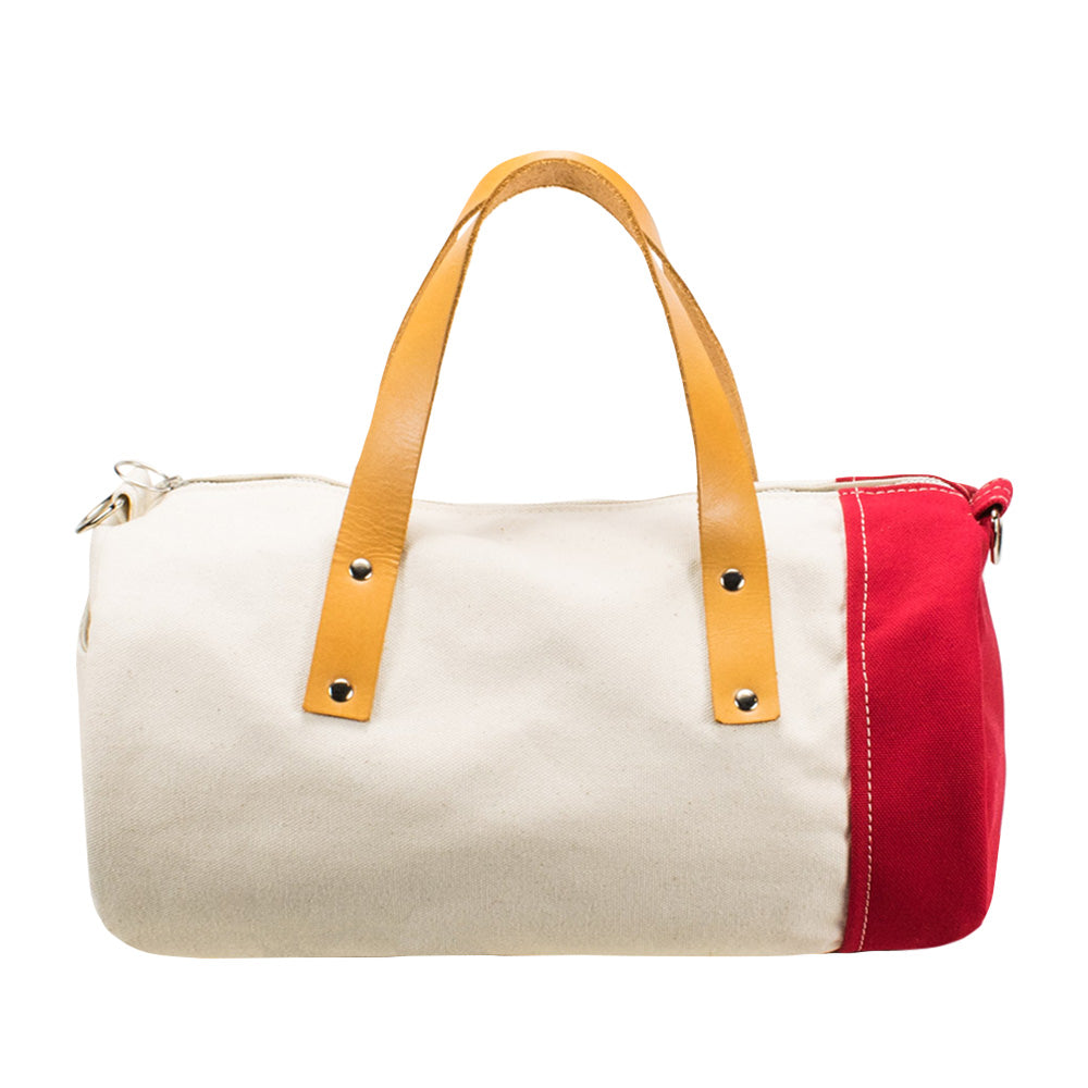 DUFFLE SHOULDER - Natural × Red