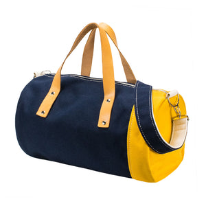 DUFFLE SHOULDER - Navy × Mustard × Natural