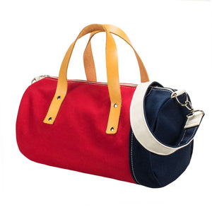 DUFFLE SHOULDER - Red × Navy × Natural