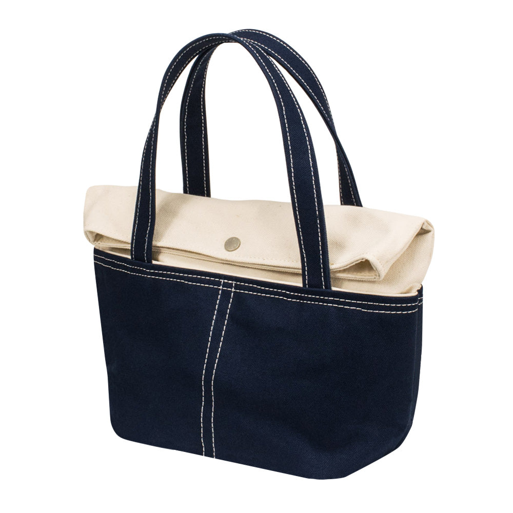 LID TOTE - Natural × Navy