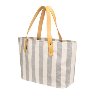 OPEN TOTE - Natural × Blue Stripe