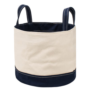 ROUND STORAGE BAG - Natural × Navy