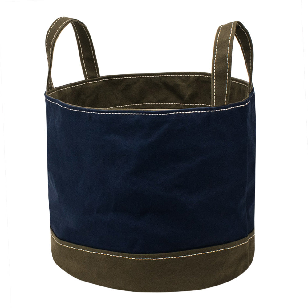 ROUND STORAGE BAG - Navy × Khaki