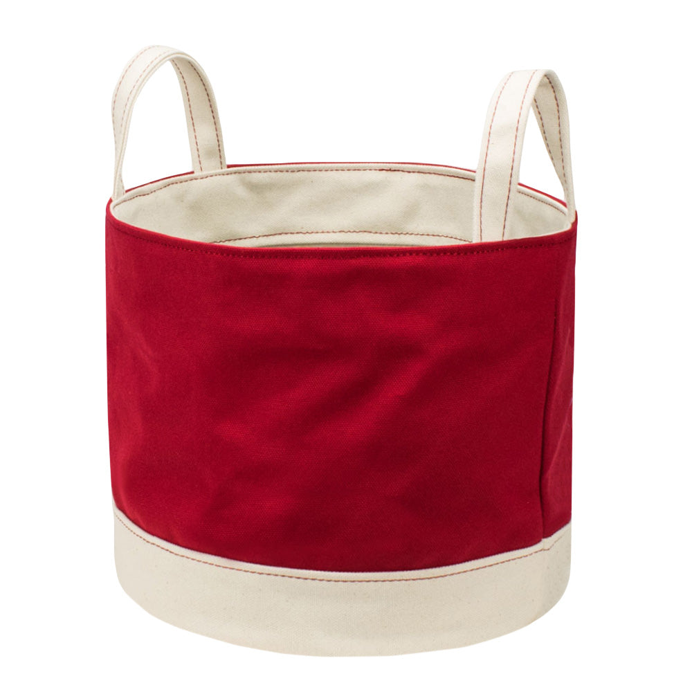 ROUND STORAGE BAG - Red × Natural