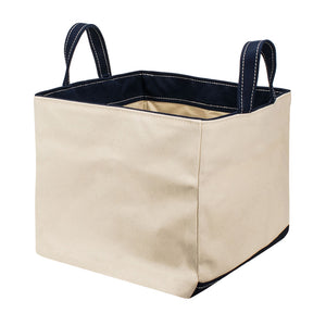 SQUARE STORAGE BAG - Natural × Navy