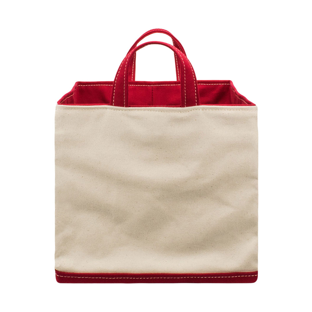 SQUARE STORAGE BAG - Natural × Red