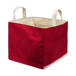 SQUARE STORAGE BAG - Red × Natural