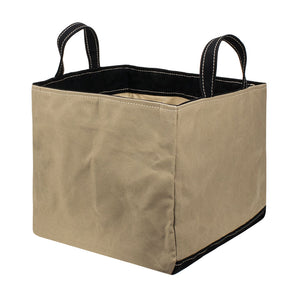 SQUARE STORAGE BAG - Sand Beige × Black
