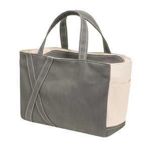 SQUARE TOTE - Gray × Natural