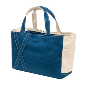 SQUARE TOTE - Marine Blue × Natural